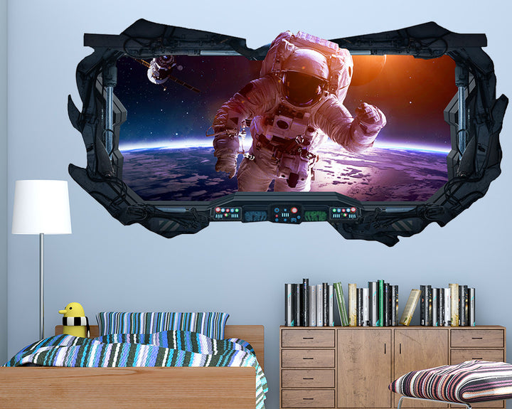 Astronaut On Moon Boys Bedroom Decal Vinyl Wall Sticker Q256