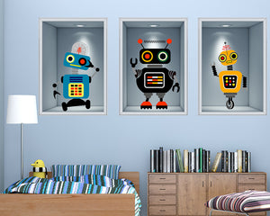 Cartoon Robot Boys Bedroom Decal Vinyl Wall Sticker Q257