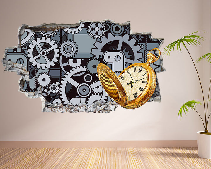 Clock Cogs Living Room Decal Vinyl Wall Sticker Q259