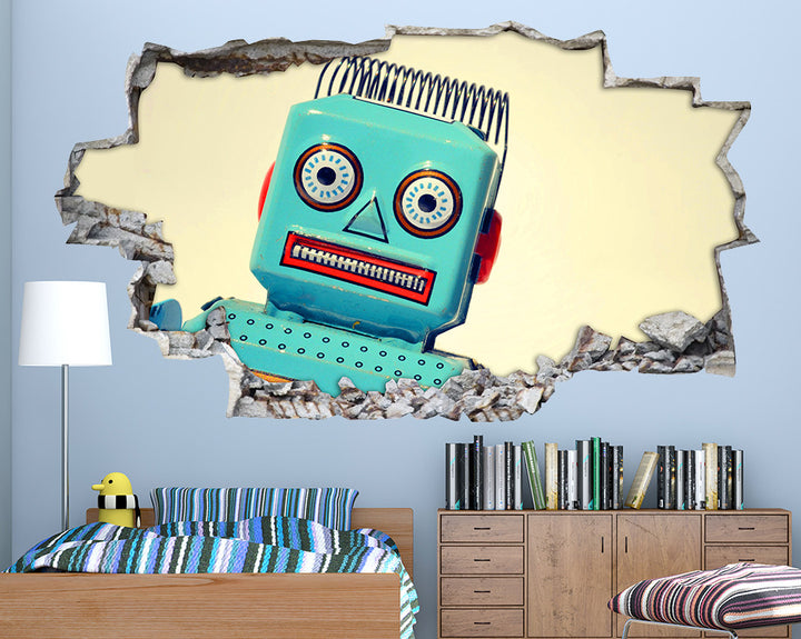 Blue Robot Boys Bedroom Decal Vinyl Wall Sticker Q260