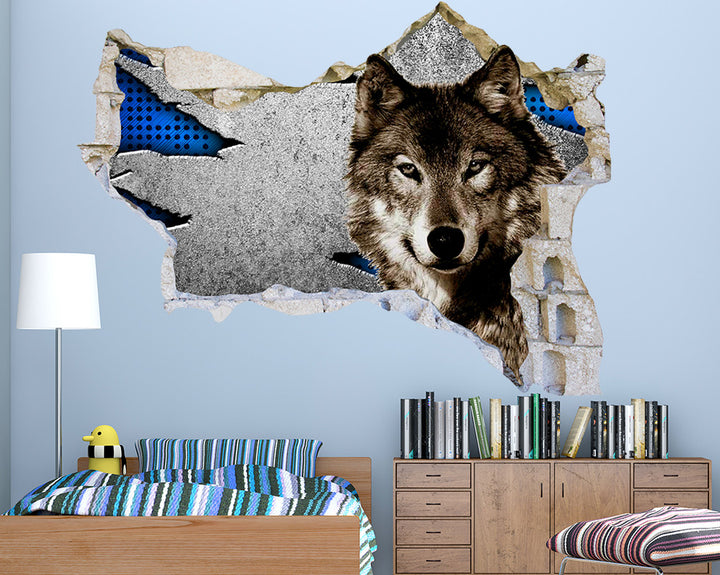 Wolf Head Boys Bedroom Decal Vinyl Wall Sticker Q264