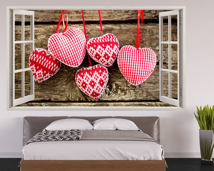 Knitted Hearts Bedroom Decal Vinyl Wall Sticker Q273
