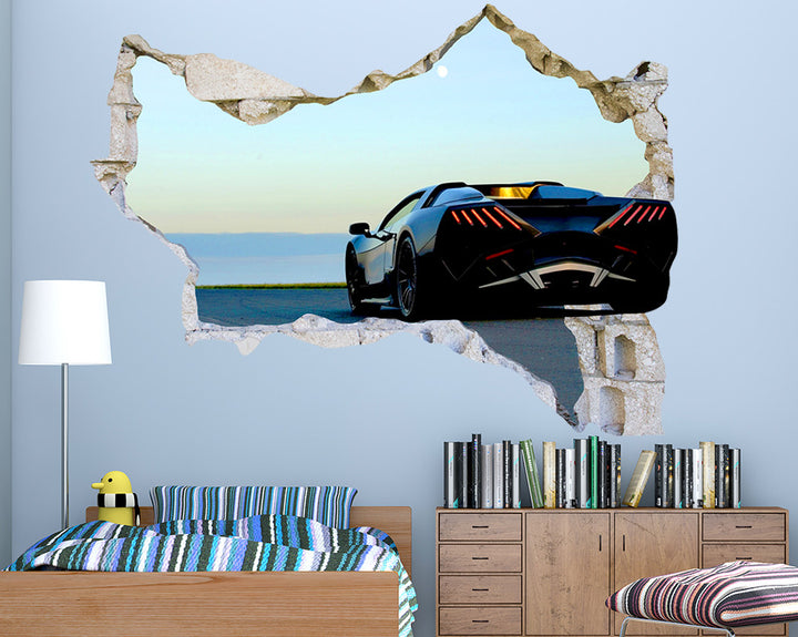 Black Sports Car Boys Bedroom Decal Vinyl Wall Sticker Q308