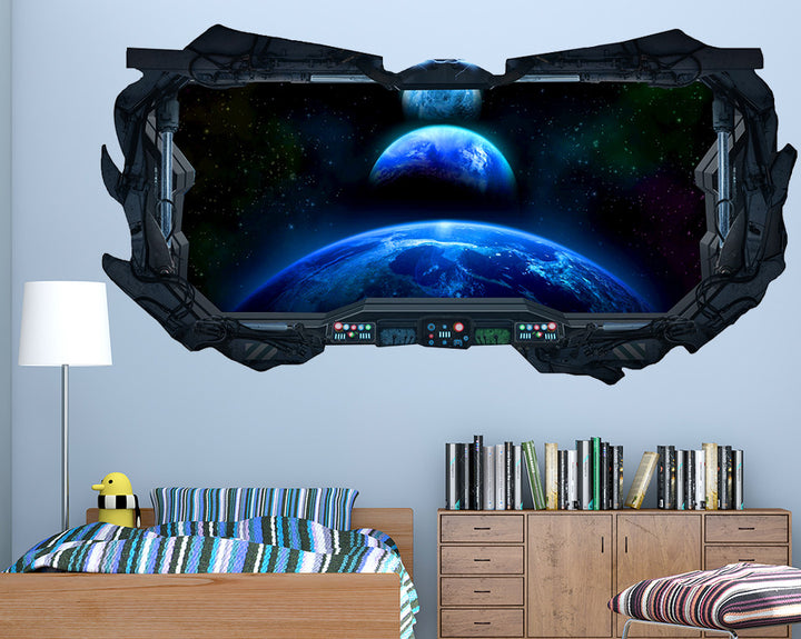 Space Earth Boys Bedroom Decal Vinyl Wall Sticker Q311