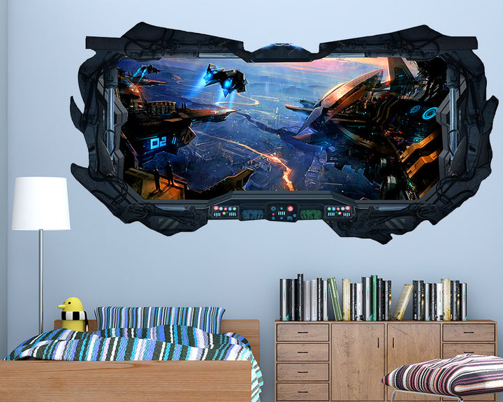 Spaceship Futuristic Boys Bedroom Decal Vinyl Wall Sticker Q312