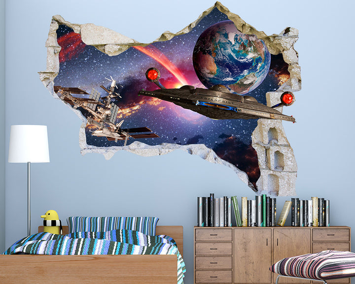 Spaceship Cool Space Boys Bedroom Decal Vinyl Wall Sticker Q330