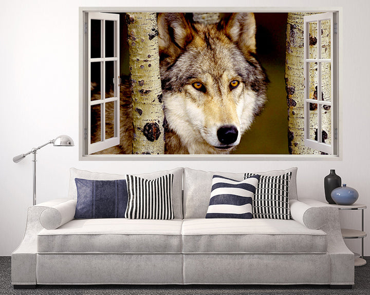 Wolf In Trees Living Room Decal Vinyl Wall Sticker Q335
