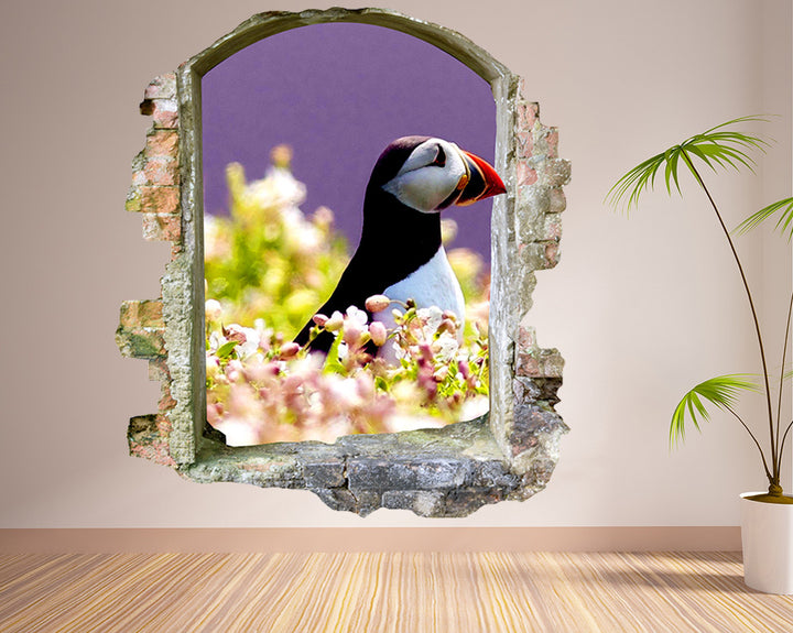 Puffin Flowers Living Room Decal Vinyl Wall Sticker Q342