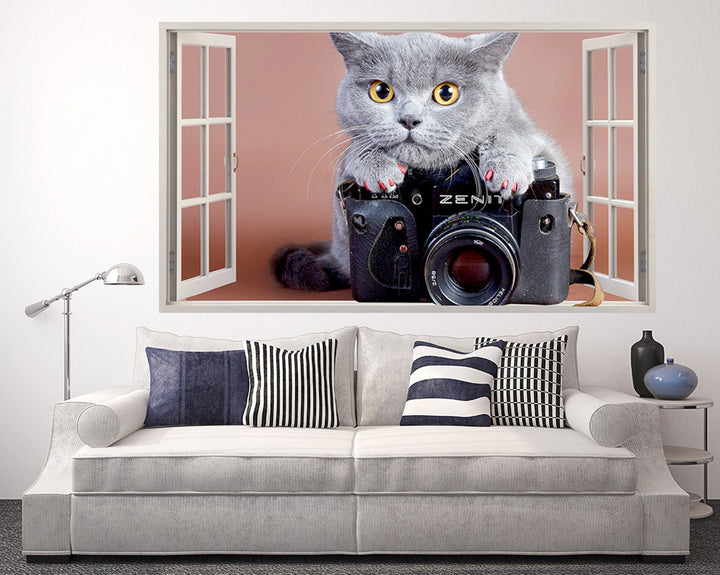 Grey Cat Camera Living Room Decal Vinyl Wall Sticker Q345