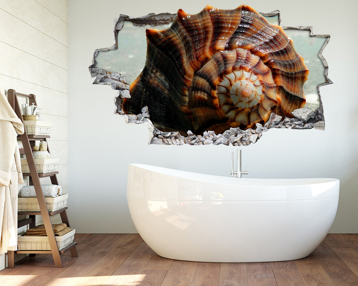 Brown Seashell Bathroom Decal Vinyl Wall Sticker Q388