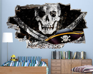 Pirate Skull Flag Boys Bedroom Decal Vinyl Wall Sticker Q390