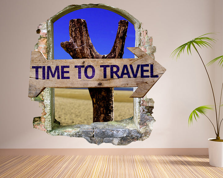 Time To Travel Living Room Decal Vinyl Wall Sticker Q395