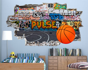Basketball Court Boys Bedroom Decal Vinyl Wall Sticker Q413