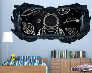 Chalkboard Astronaut Boys Bedroom Decal Vinyl Wall Sticker Q431