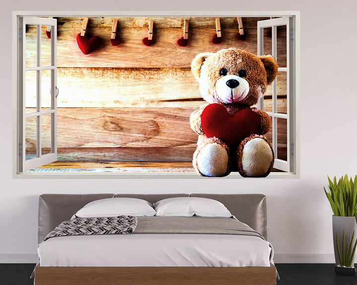 Teddy Heart Bedroom Decal Vinyl Wall Sticker Q433