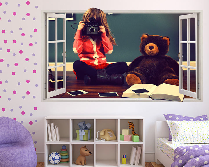 Teddy Polaroid Girls Bedroom Decal Vinyl Wall Sticker Q447