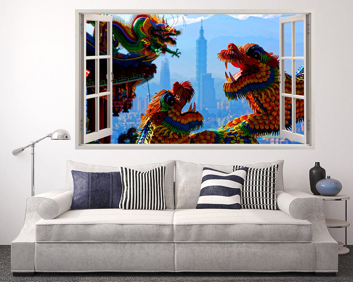 Chinese Dragon Living Room Decal Vinyl Wall Sticker Q449