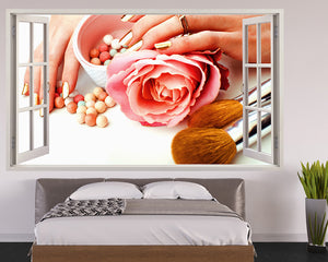 Cosmetics Rose Bedroom Decal Vinyl Wall Sticker Q456