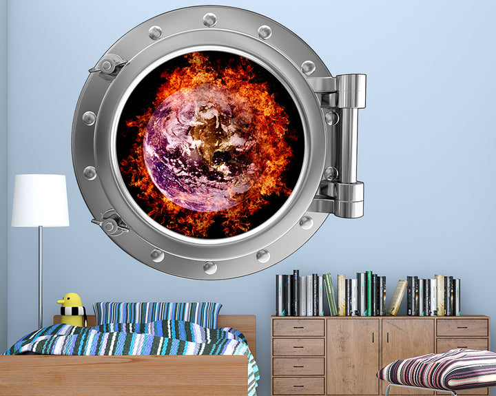 Fire Earth Boys Bedroom Decal Vinyl Wall Sticker Q460