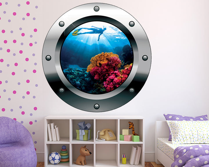 Snorkelling Coral Reef Girls Bedroom Decal Vinyl Wall Sticker Q474