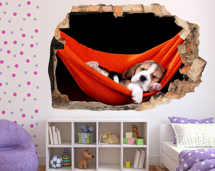 Sleepy Puppy Hammock Girls Bedroom Decal Vinyl Wall Sticker Q478