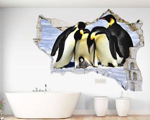 Penguin Huddle Bathroom Decal Vinyl Wall Sticker Q483