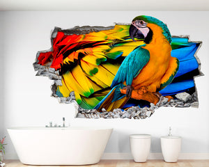 Parrot Feathers Bathroom Decal Vinyl Wall Sticker Q496