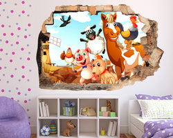 Happy Farm Animal Girls Bedroom Decal Vinyl Wall Sticker Q502
