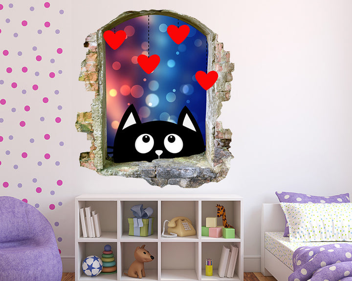 Cartoon Black Cat Girls Bedroom Decal Vinyl Wall Sticker Q512