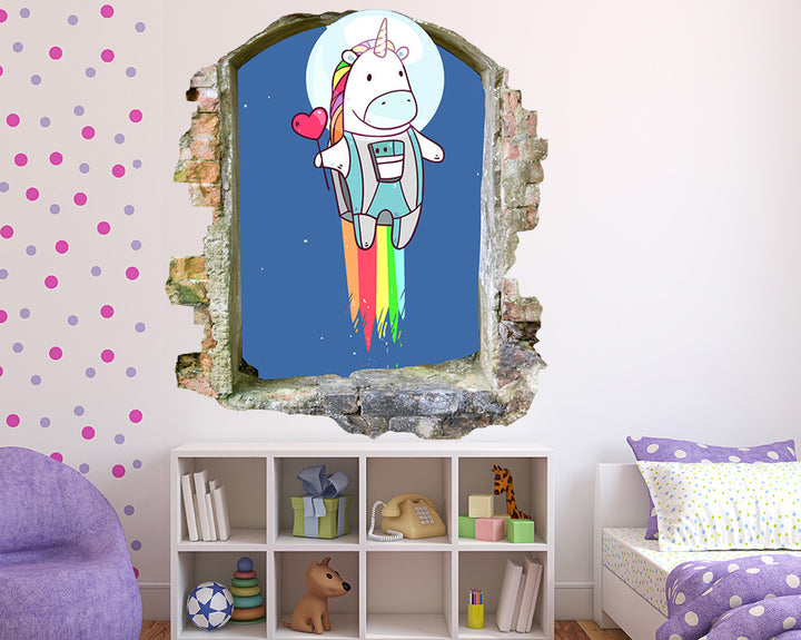 Astronaut Unicorn Girls Bedroom Decal Vinyl Wall Sticker Q517
