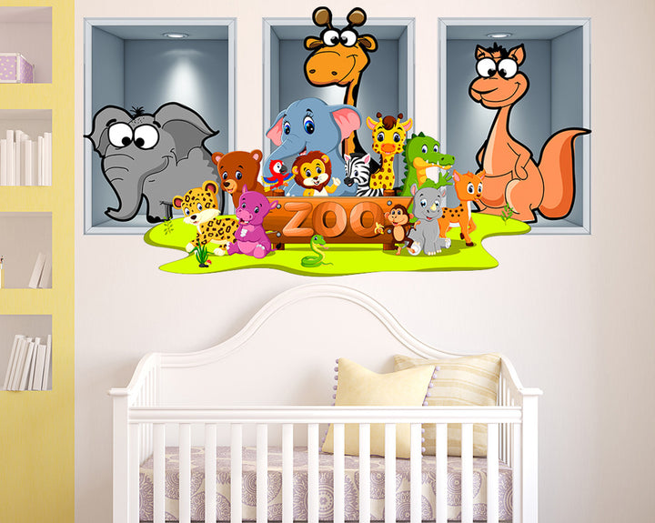 Zoo Friends Nursery Decal Vinyl Wall Sticker Q531
