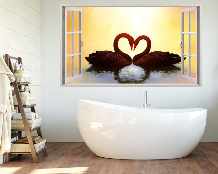 Swan Heart Bathroom Decal Vinyl Wall Sticker Q533