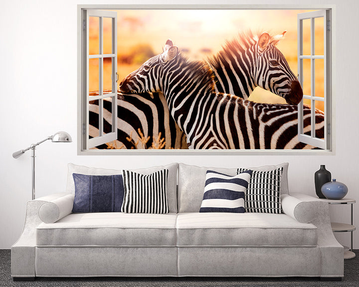 Zebra Hug Living Room Decal Vinyl Wall Sticker Q542
