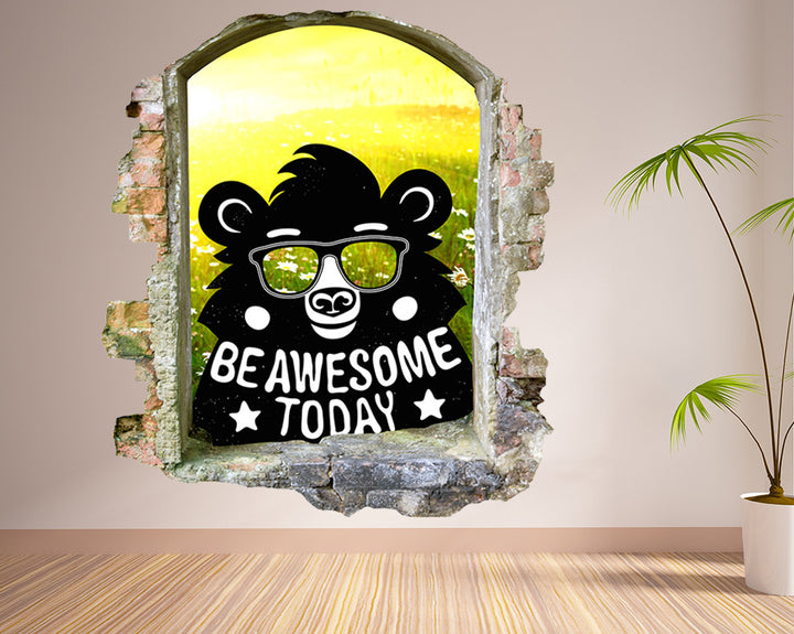 Be Awesome Bear Hall Decal Vinyl Wall Sticker Q557