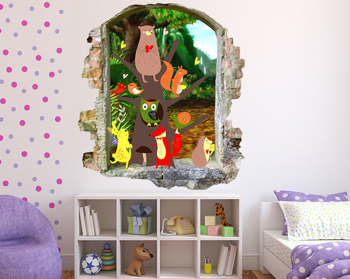 Woodland Animals Girls Bedroom Decal Vinyl Wall Sticker Q570