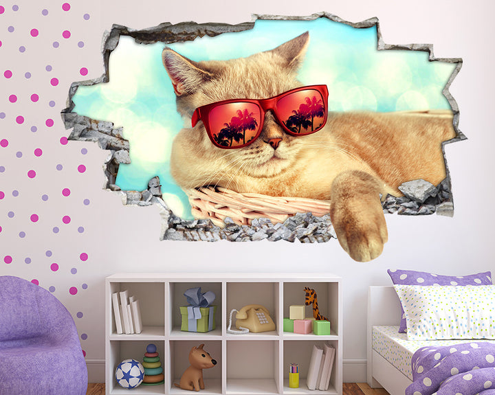 Cool Cat Girls Bedroom Decal Vinyl Wall Sticker Q573