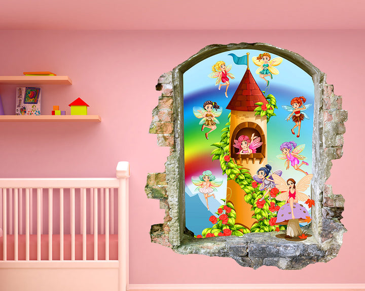 Fairy Castle Nursery Decal Vinyl Wall Sticker Q581