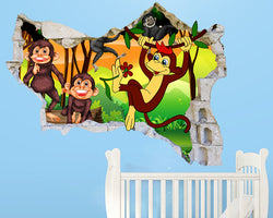 Monkey Friends Nursery Decal Vinyl Wall Sticker Q585