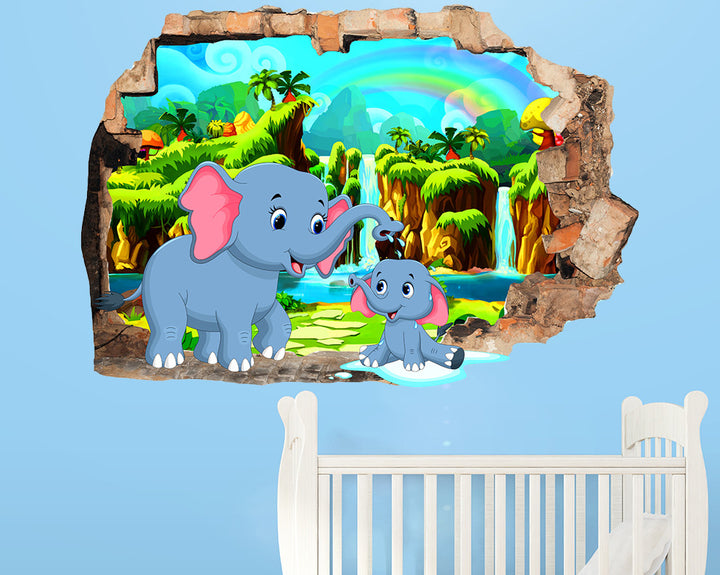 Elephant Bath Nursery Decal Vinyl Wall Sticker Q594