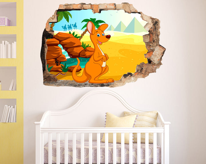 Happy Kangaroo Nursery Decal Vinyl Wall Sticker Q600