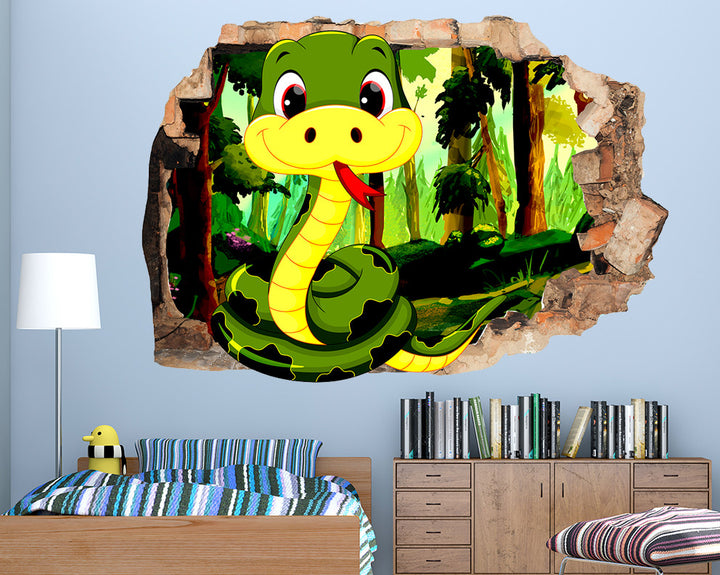 Happy Cartoon Snake Boys Bedroom Decal Vinyl Wall Sticker Q604