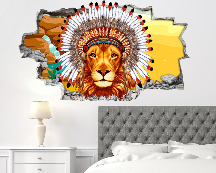 Lion Head Dress Bedroom Decal Vinyl Wall Sticker Q612