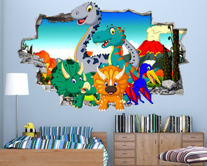 88c27f942 Cartoon Dinosaur Volcano Boys Bedroom Decal Vinyl Wall Sticker Q615