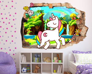 Rainbow Unicorn Girls Bedroom Decal Vinyl Wall Sticker Q623