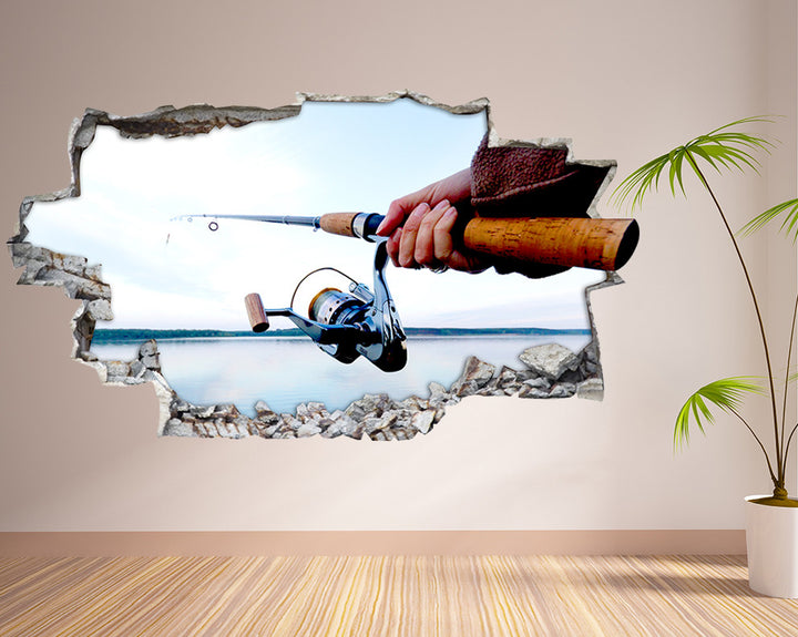 Fishing Rod Hall Decal Vinyl Wall Sticker Q635