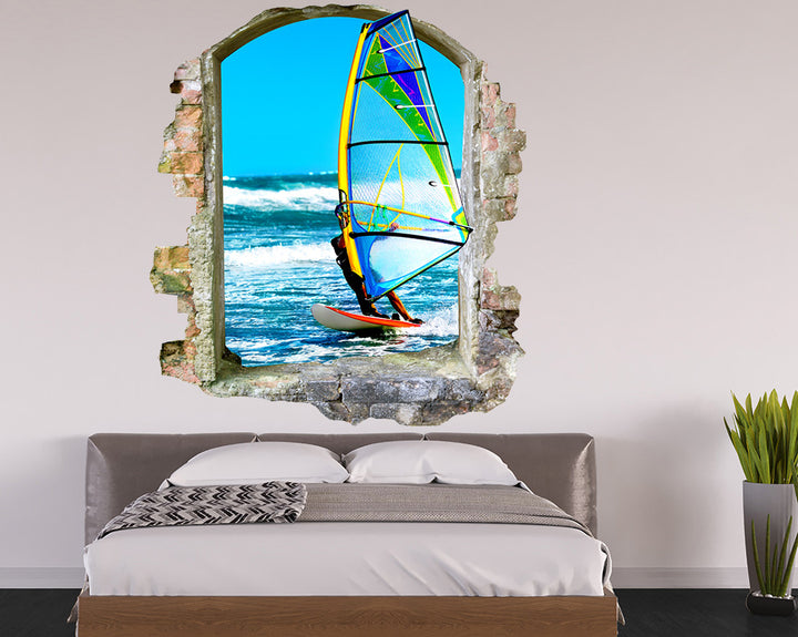 Windsurf Waves Bedroom Decal Vinyl Wall Sticker Q637
