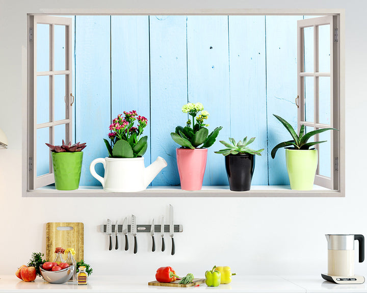 Plants Windowsill Kitchen Decal Vinyl Wall Sticker Q639