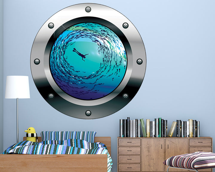 Snorkelling Fish Boys Bedroom Decal Vinyl Wall Sticker Q645