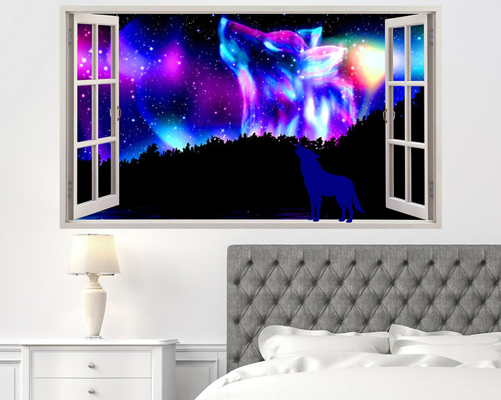 Wolf Northern Lights Bedroom Decal Vinyl Wall Sticker Q665