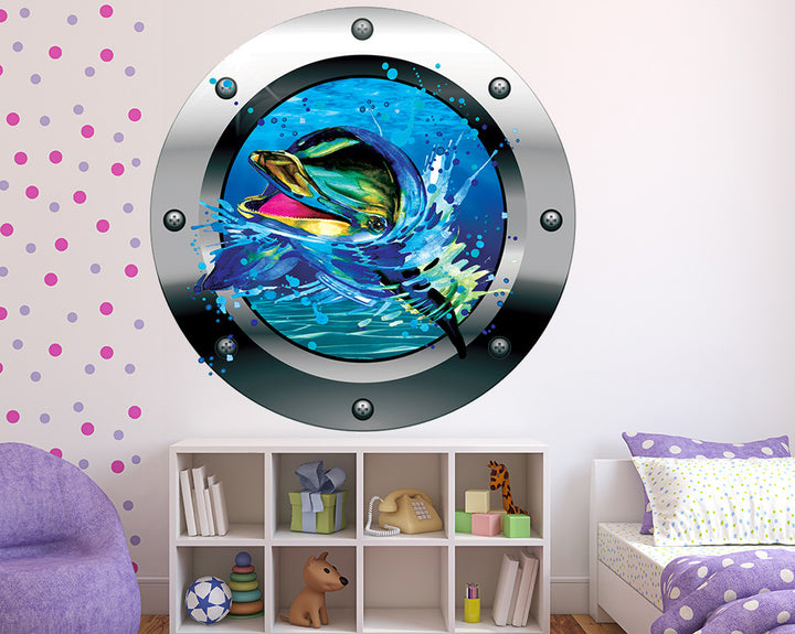 Dolphin Splash Girls Bedroom Decal Vinyl Wall Sticker Q671